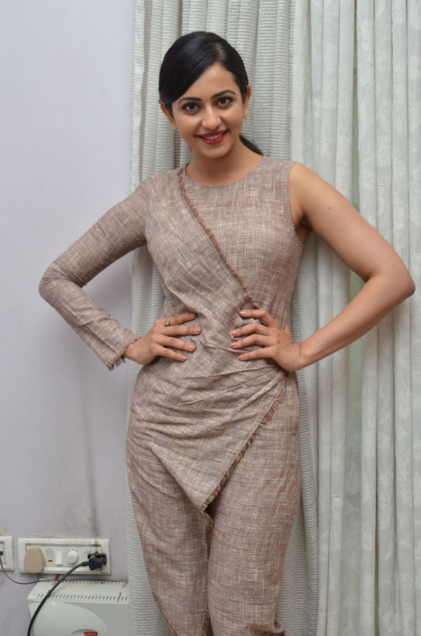Rakul Preet Photoshoot From Nannaku Prematho Interview In Beautiful Dress