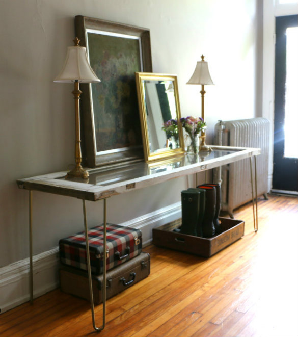 Foyer Table Hairpin Legs : Over on ehow our diy entryway table apart