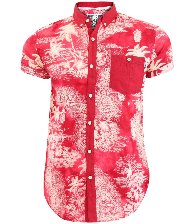 Mens Designer Soulstar Hawaii Floral Print Colourful Short Sleeve Top