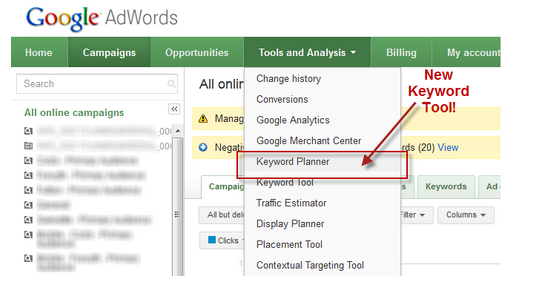 Adwords google planner screenshot