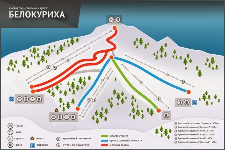 схема горнолыжных трасс Белокуриха Сибирь