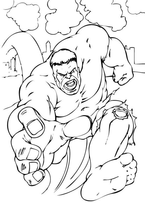 The incredible hulk coloring pages for kids disney for Hulk color page