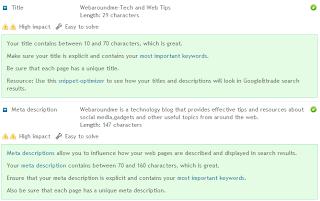 screenshot of woorank analyis extension
