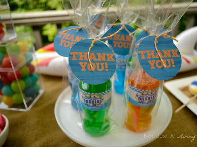 A Day At The Beach playdate party table bubble favors