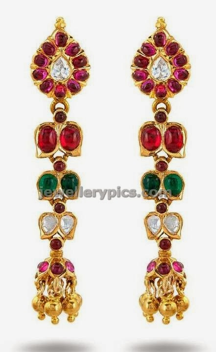 long jumki with kundan ruby emerald by nalli jewellers