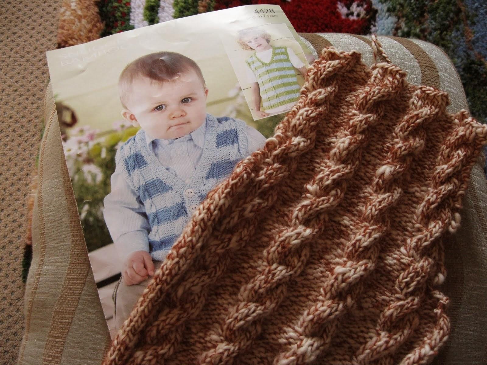 Cable knitting - baby waistcoat
