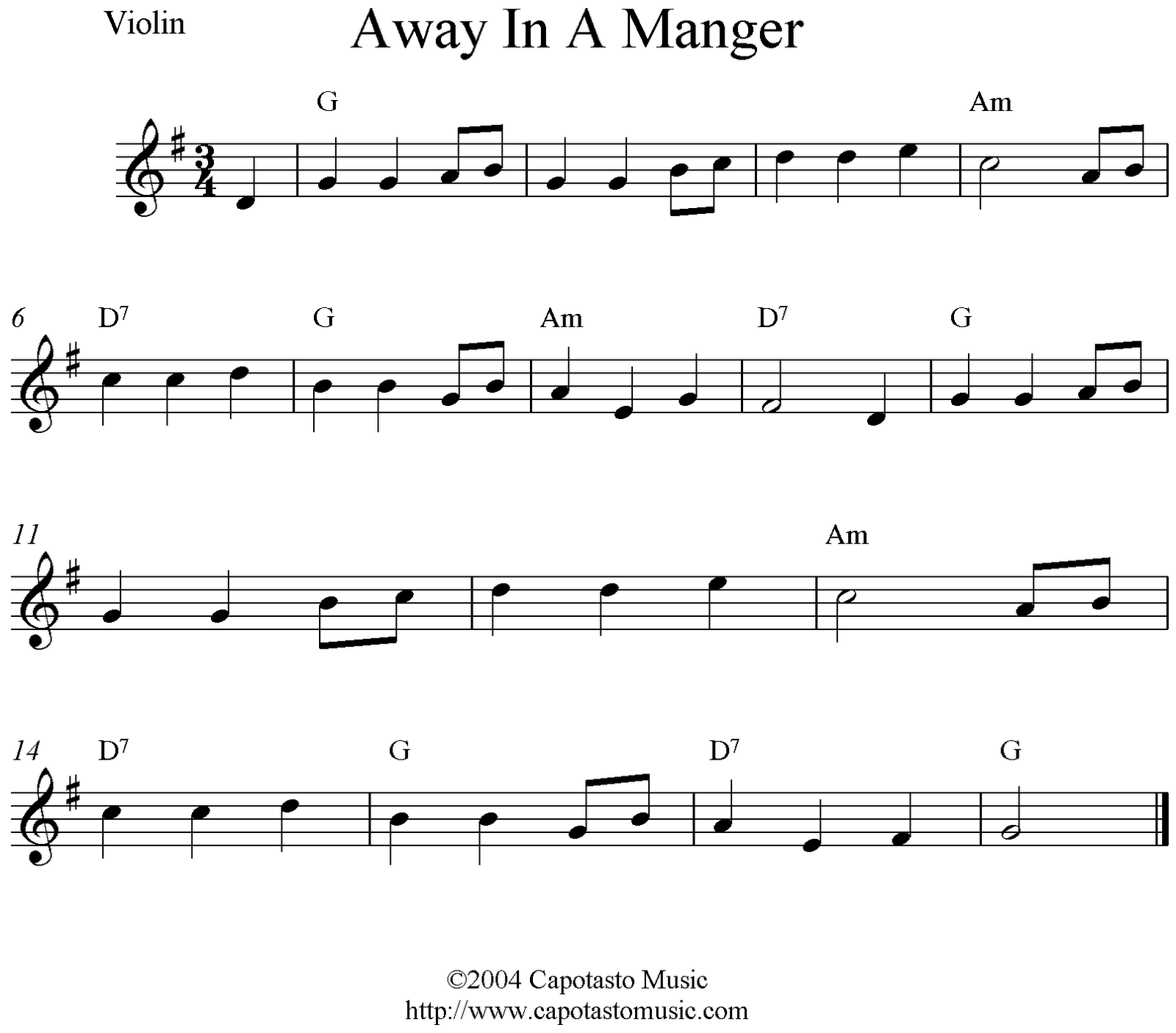 Away In A Manger, free Christmas violin sheet music notes