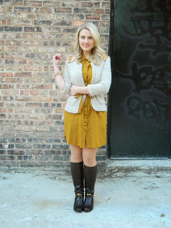 madewell shirtdress, shirt dress and boots, shirtdress winter, michael kors boots, flat boots winter, flat boots, glitter cardigan, bauble bar bracelet, bauble bar