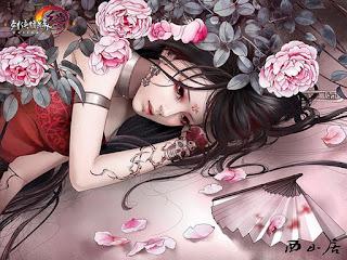 Ilustraciones Mujeres Chinas con Flores