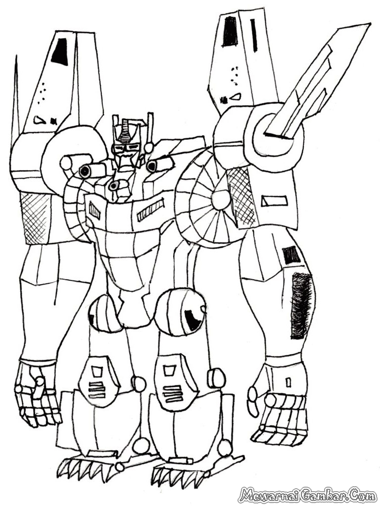 ... gambar robot Transformer yang bisa anda download untuk diwarnai