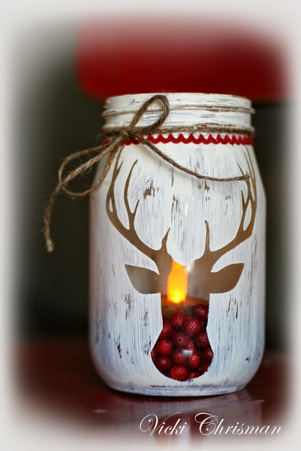 stencilled reindeer jars