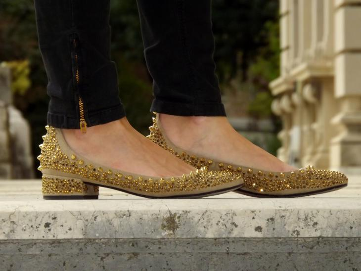 studded gold zara ballerinas flat with ankle strap