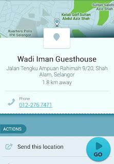 Homestay, Shah Alam, Wadi Iman Guesthouse, peta, map, jalan-jalan, sesat, cuti-cuti