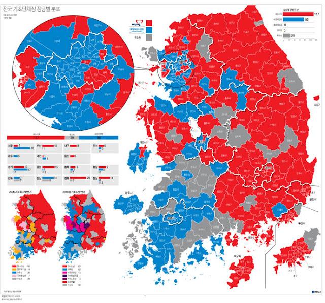 Resultados de cada distrito en las elecciones locales de Corea del Sur