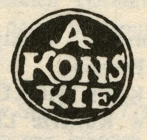 Końskie - owalny (13,5 x 14 mm), czarny stempel na liście z 1788 r. - tu znacznie powiększony. Zamieszczony w: Katalogu specjalizowanym znaków pocztowych ziem polskich 1990.