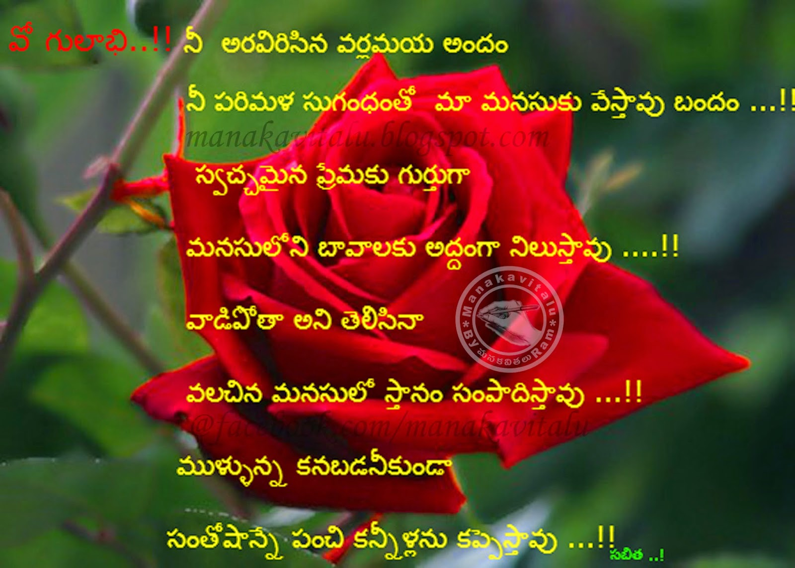 Telugu quote rose images by Manakavitalu