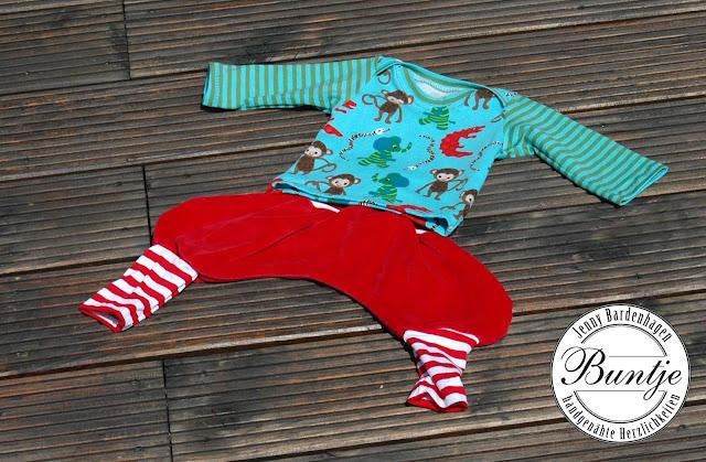 Zwergenverpackung Shirt amerikanischer Ausschnitt nähen Buntje Baumwolle Jersey bio Lillestoff Nicki Hose Pumphose Ballonhose Mitwachshose Dschinni handmade