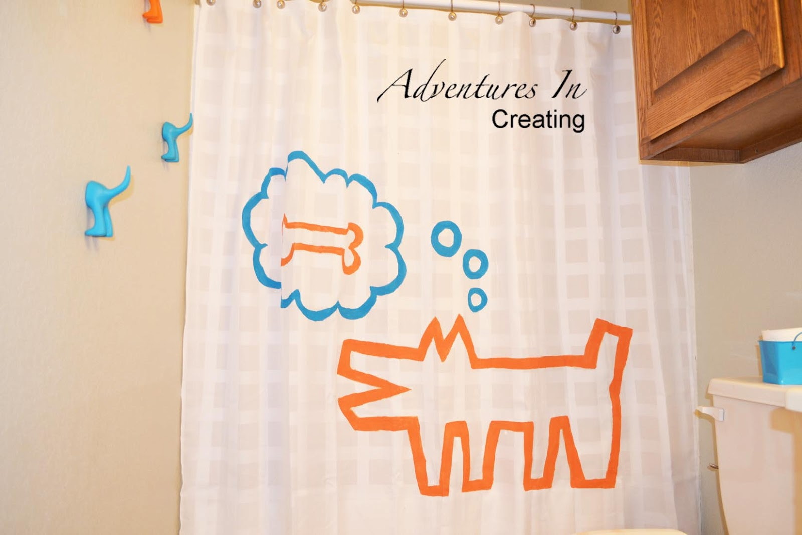 Adventures in creating give a dog a bone - Keith haring shower curtain ...
