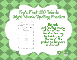http://www.teacherspayteachers.com/Product/Spelling-Practice-Book-Frys-First-100-Sight-Words-0-100-757428