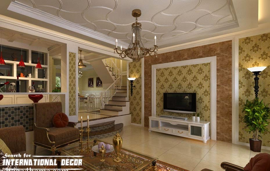 Decorative ceiling tiles with original designs and types for The living room drop in center