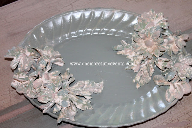 Making Decor Platter adding Plaster of Paris flowers at One More Time Events.com