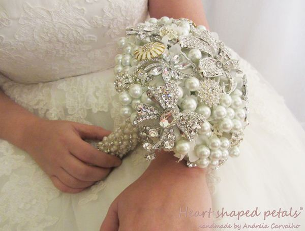 Bridal pearl and brooch bouquet