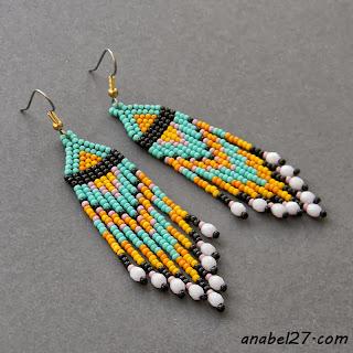 серьги из бисера бирюзовые seed bead earrings