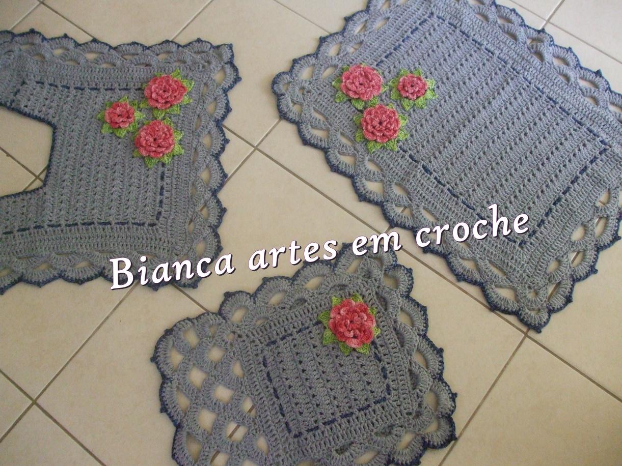 Bianca artes em crochet: Jogo de banheiro cinza #834141 1221 916