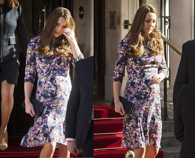 "Catherine, Duchess of Cambridge in Purple and Pink Floral Frock by Erdem (Resort 2013 Collection - ""Darla"" dress) for Goring Hotel Celebration"