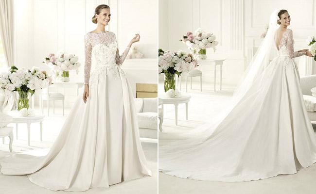 Monet , Gaun pengantin dengan bustier yang ditutup dengan lace dari