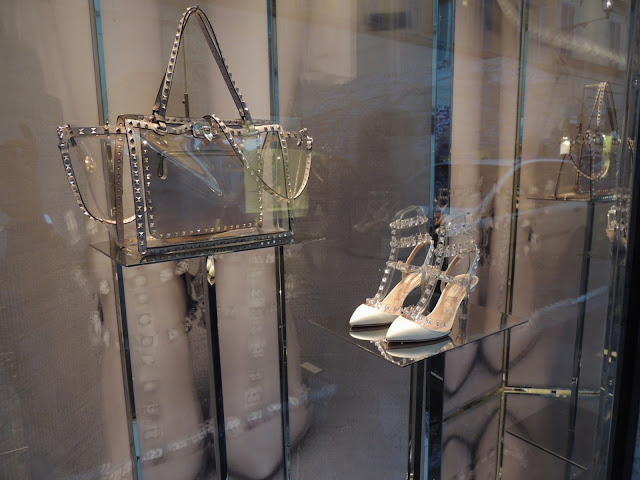 Valentino rockstud perspex handbag and studded heels in a visual merchandising display