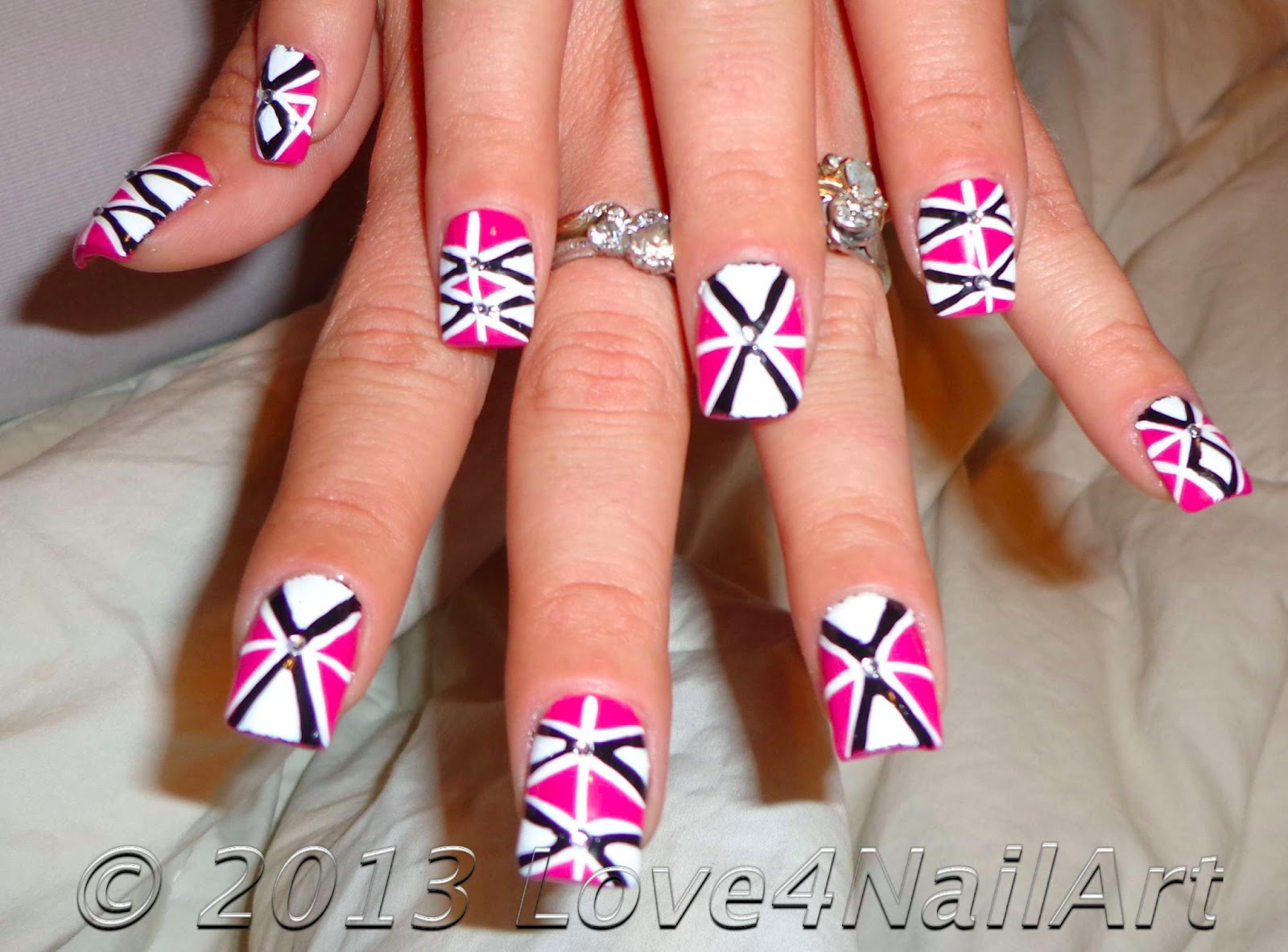 Hot Pink Geometric Nail Art