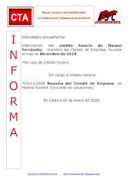 C.T.A. INFORMA CRÉDITO HORARIO MANUEL FERNANDEZ, DICIEMBRE 2019