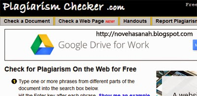 plagiarismchecker adalah situs gratis melacak tukang curi artikel blog