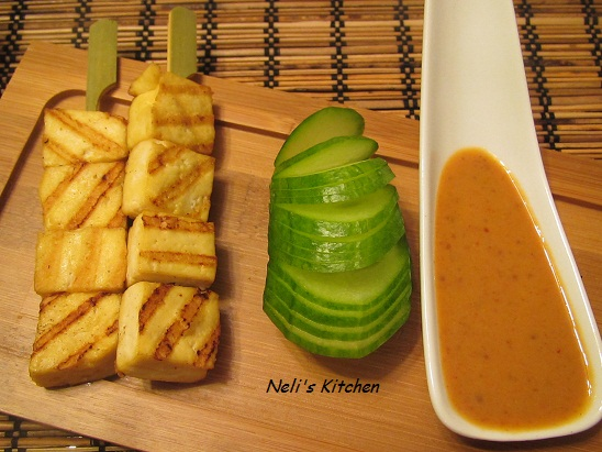 Easy Tofu Satay with Peanut Sauce