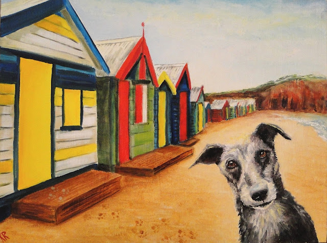 Wish you were here, a seaside postcard painting with a dog