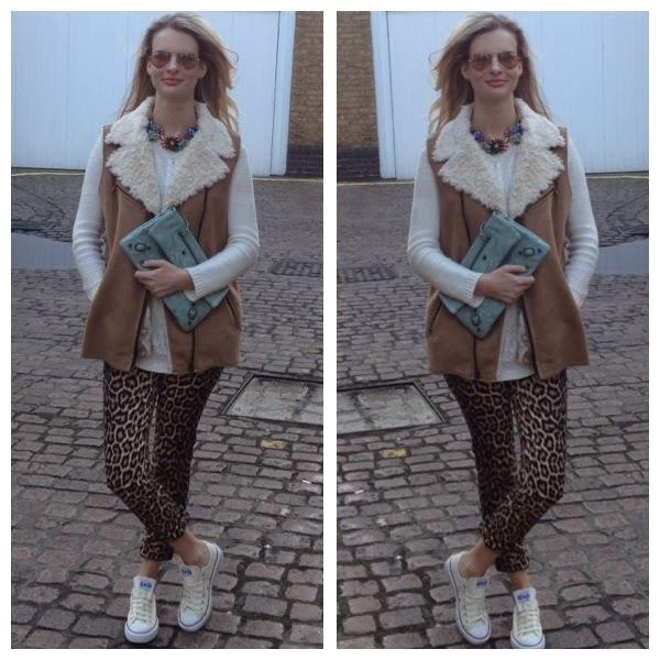 zara leopard print trousers, leopard print pants, converse, converse shoes, trainers, sneakers, fur gilet, sunglasses, sunnies, rayban