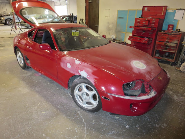 Auto body repairs in process on 1995 Toyota Supra at Almost Everything Auto Body
