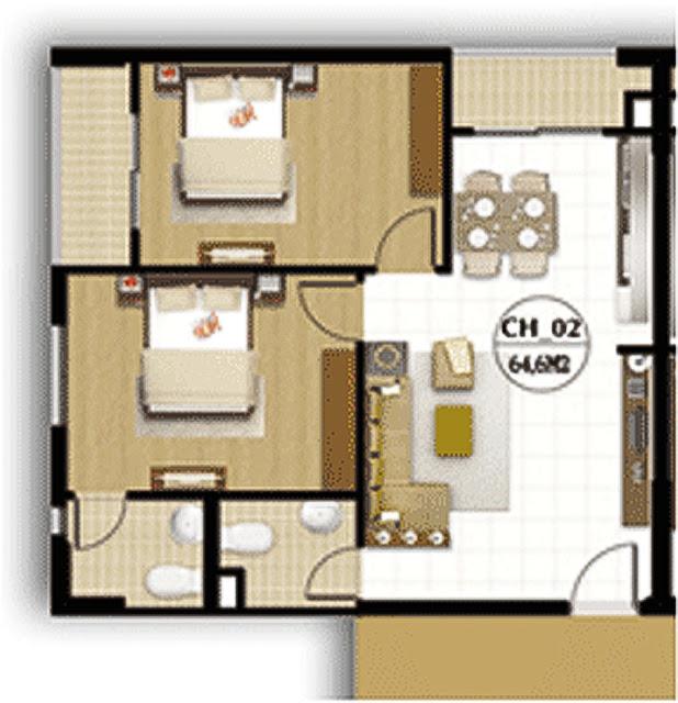 Tư vấn thiết kế nội thất hợp lý cho căn hộ 4 người ở, DT 50m2