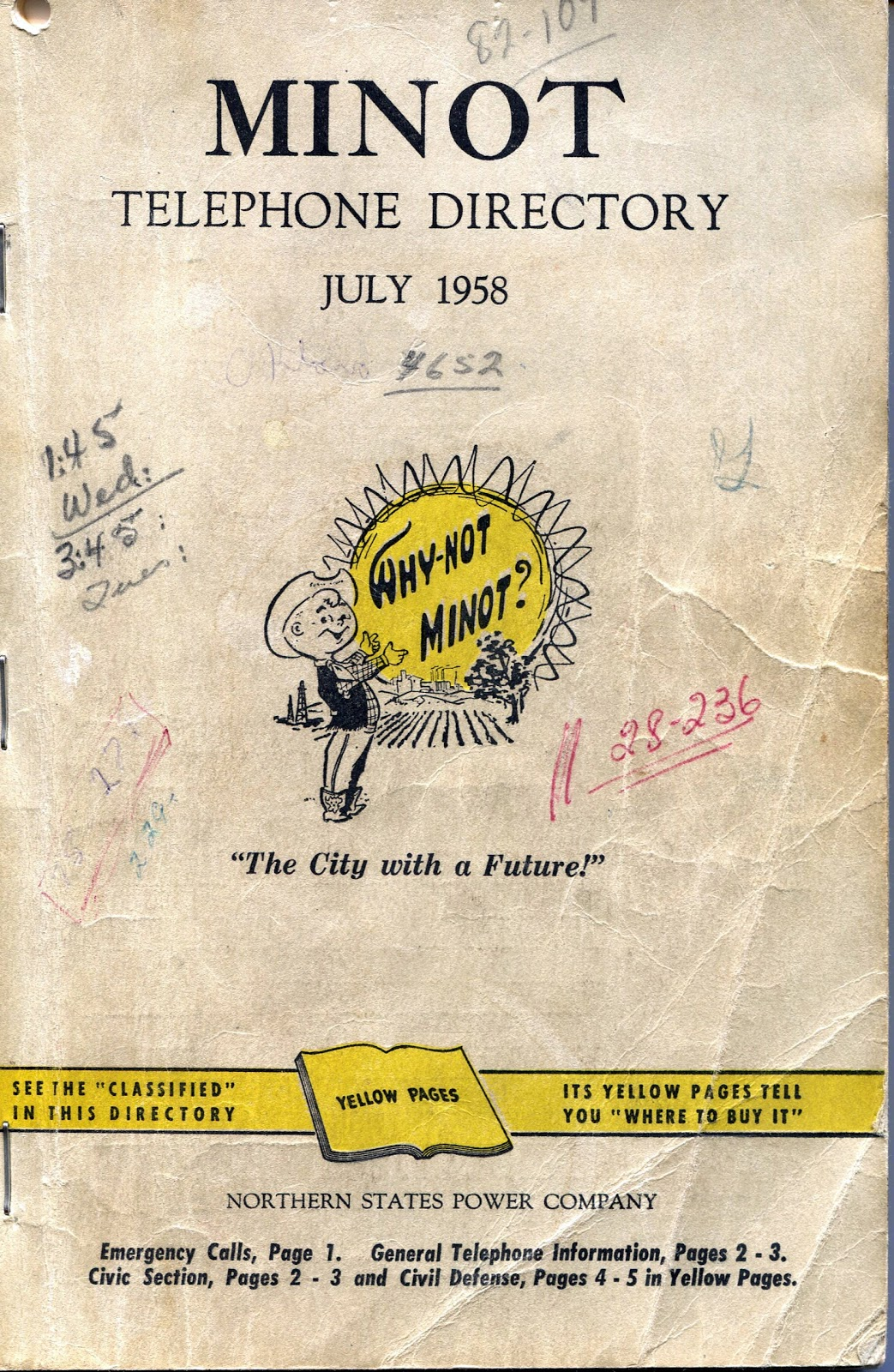 Book Cover Contact : Minot memories phone book