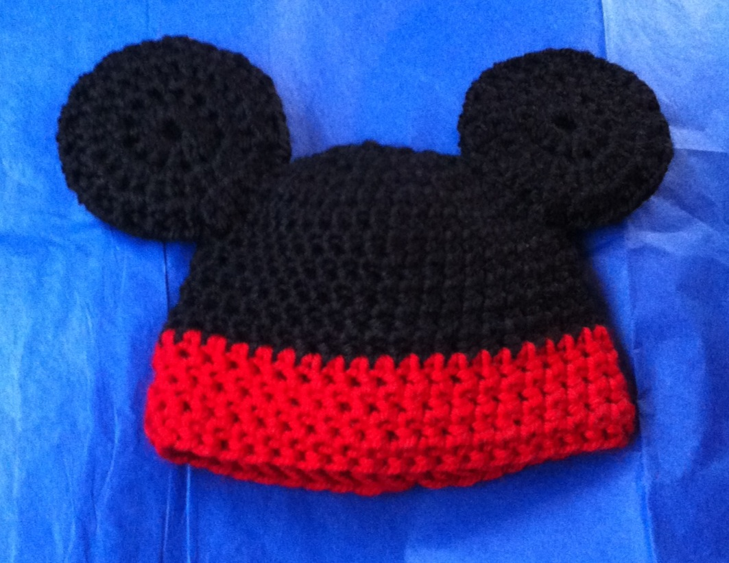Free Crochet Pattern Mickey Hat : Stargazun Designs: Crochet Mickey Mouse Baby Hat