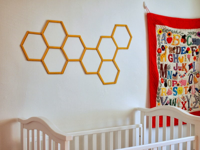DIY Honeycomb Hexagon Popsicle Stick Wall Art | Pink Stripey Socks