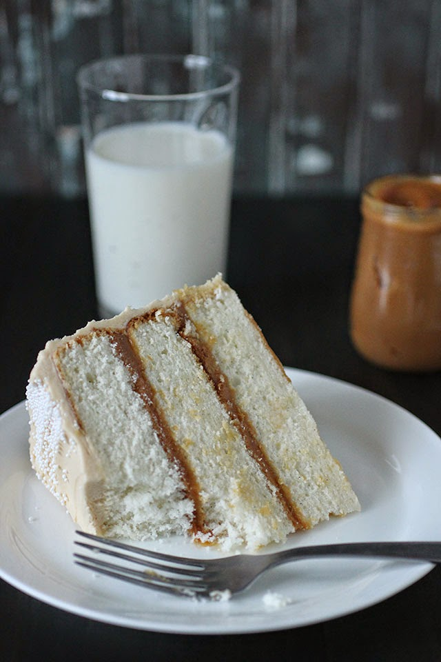 ambrosia: Vanilla Bean Cake with Whipped Dulce de Leche Frosting