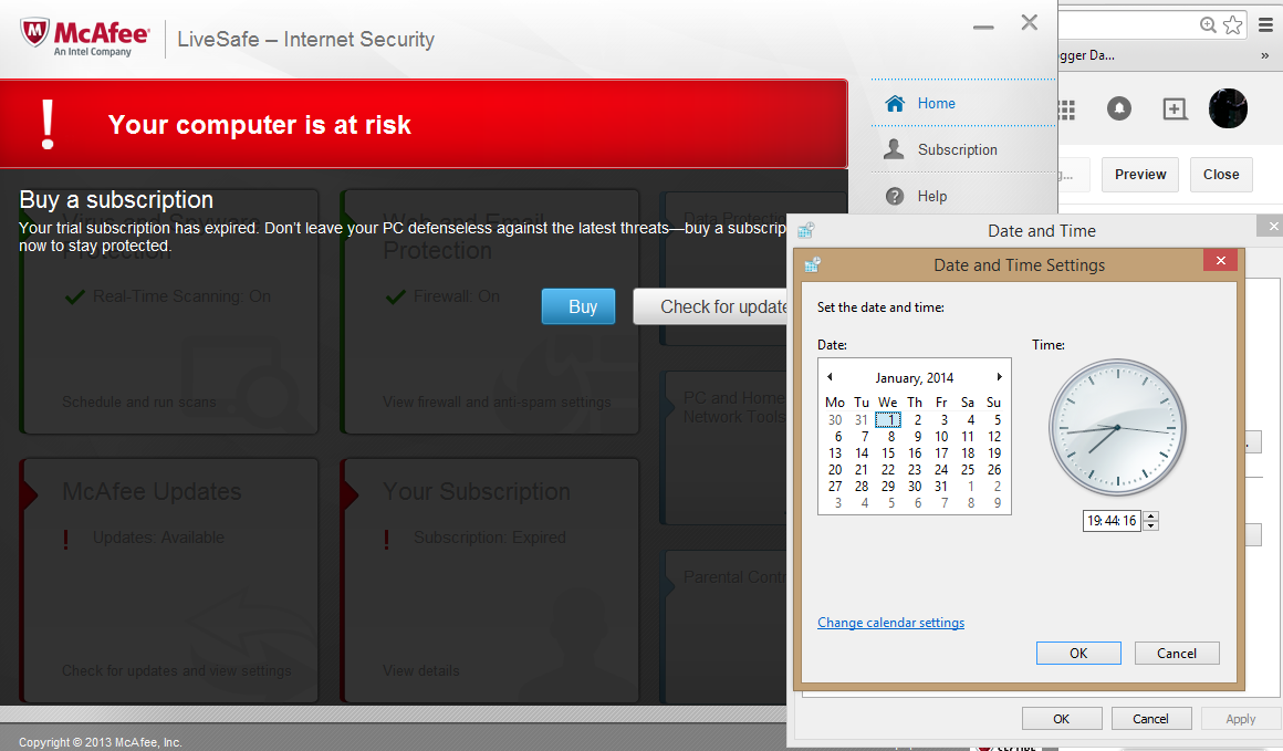 Automate The Box Mcafee Internet Security Antivirus Extend Trial 3 Year Change System Date To Previous Months Or Years