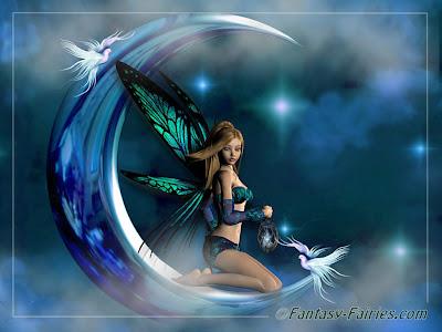 Free Desktop Moon Fairy Wallpaper