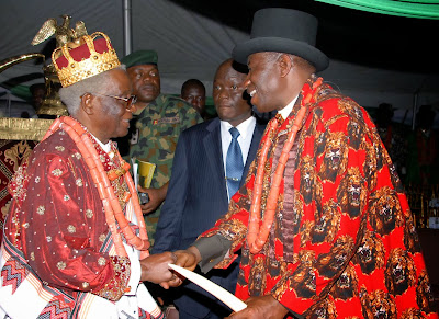 Photonews: Pres. Jonathan Takes Traditional Title In Ogoloma Amidst Mun-In-Law's Burial