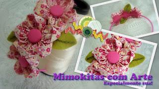 tiara flor de tecido
