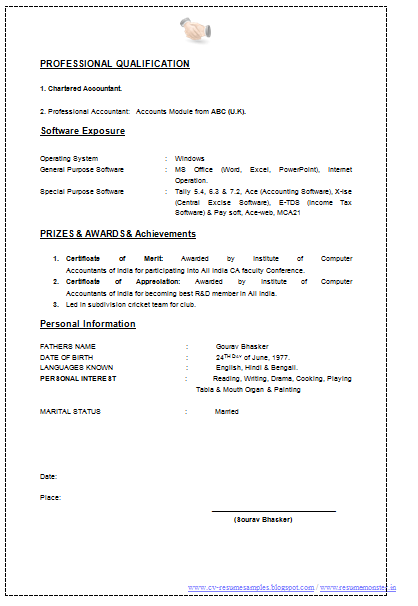 best resume formats for chartered accountants ireland