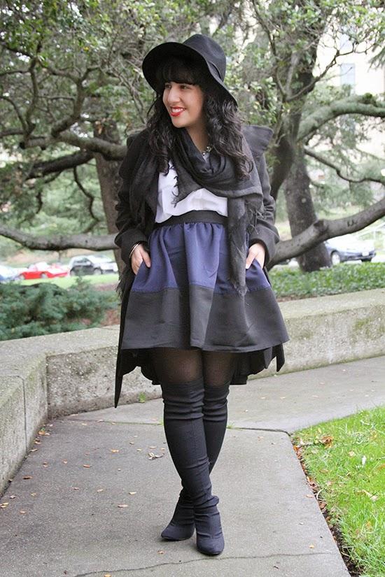 Express Black Felt Hat, Portofino Shirt and Colorblock High Waist Skirt
