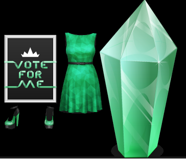 Stardoll Free MSW Miss Stardoll World Gift Dress, Shoes, Green Crystal and Poster